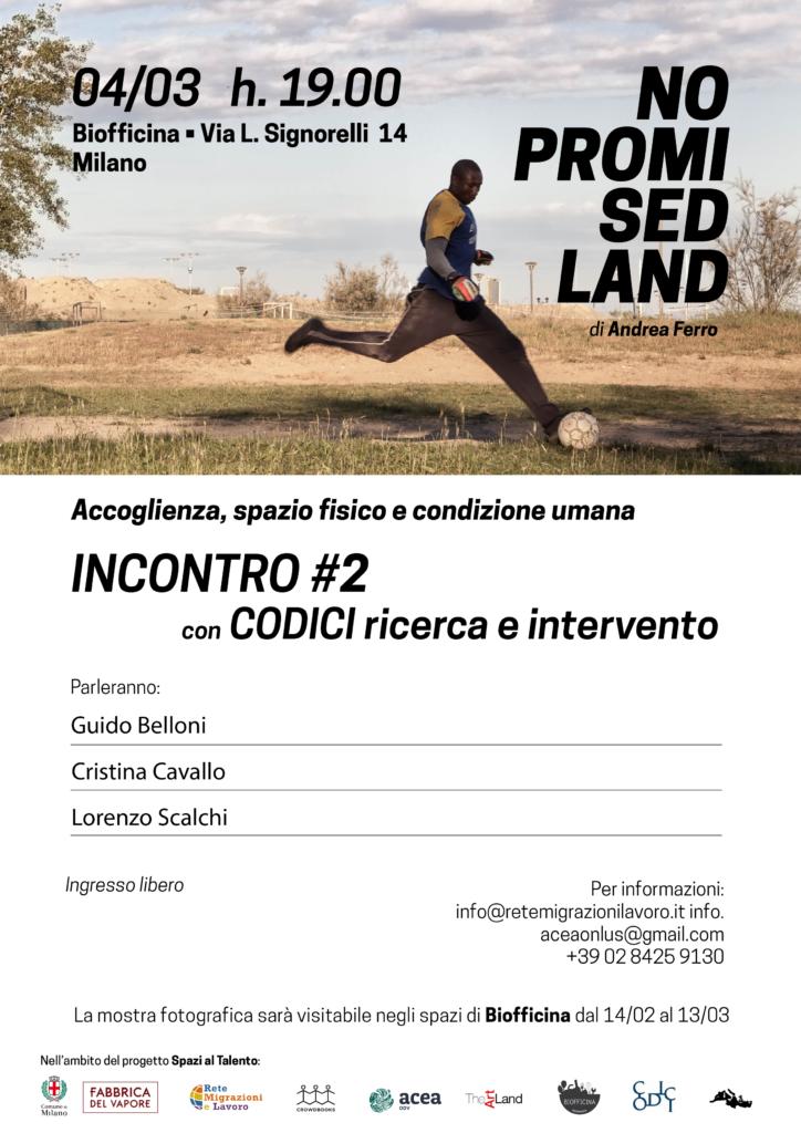 Locandina No Promised Land 4 Marzo Codici Ricerca e Intervento
